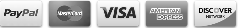 PayPal, Visa, Mastercard, Amex, Discover